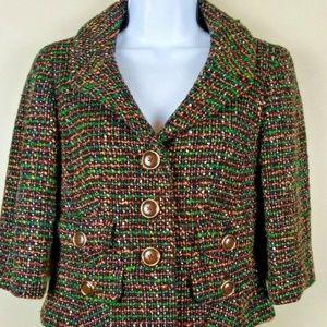 Ann Taylor Loft Green & Brown Tweed Blazer Size 2